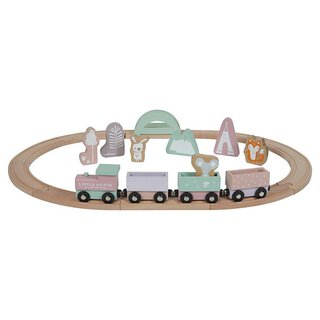 Holz-Eisenbahn mit Schienen - adventure pink  | Little Dutch